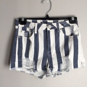 Boom boom jeans blue and white striped shorts